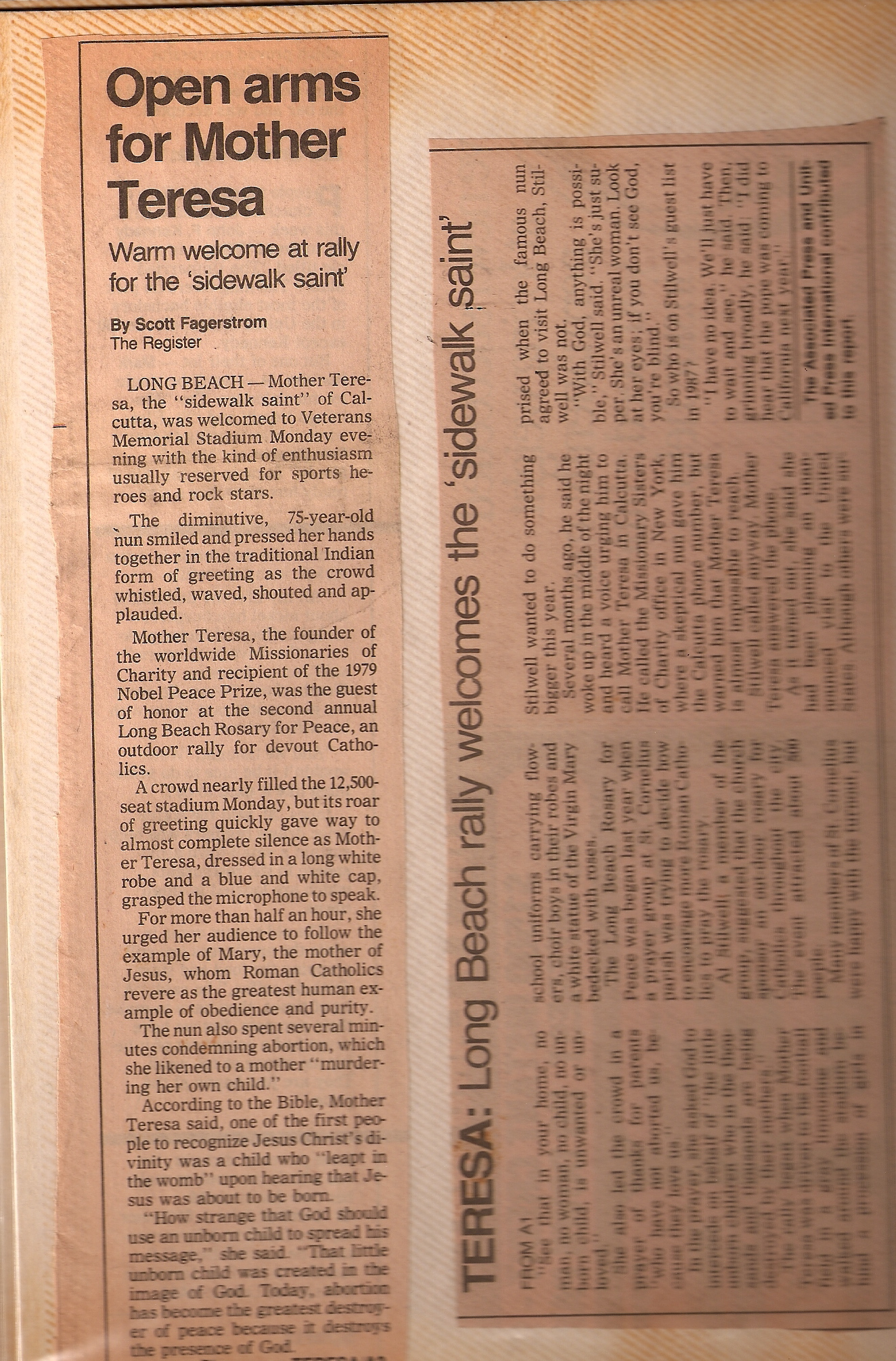newspaper article on mother teresa Mother teresa news by date find breaking news, commentary, and archival information about mother teresa from the tribunedigital-chicagotribune (page 2 of 5).